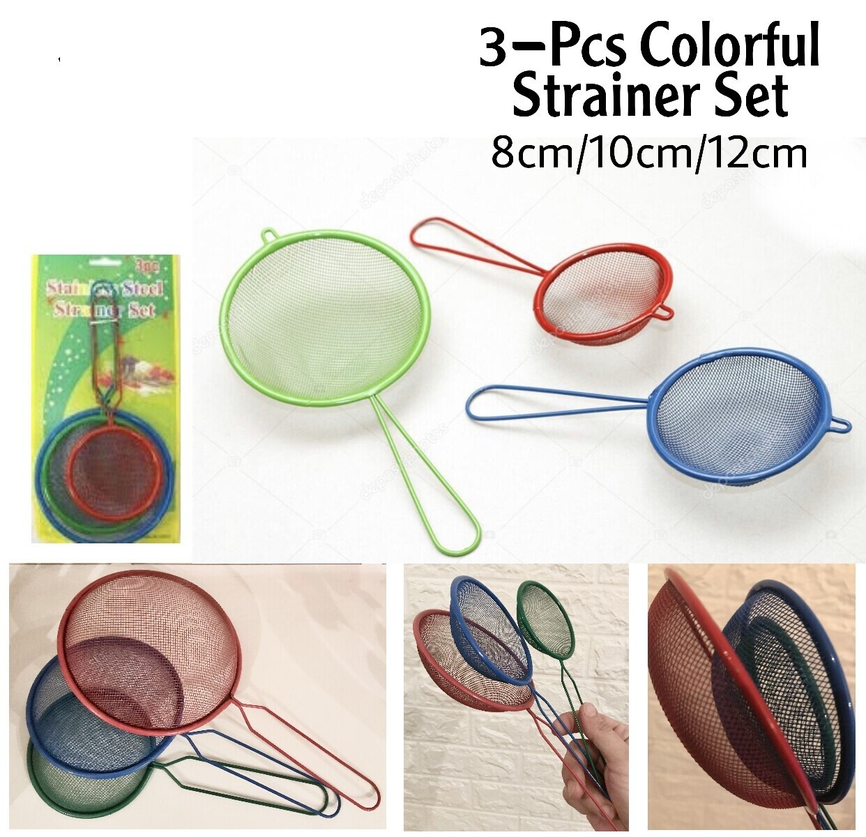 3-Pcs Colorful Strainers
