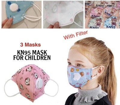 3-Pcs KN95 Children Mask (with filter)