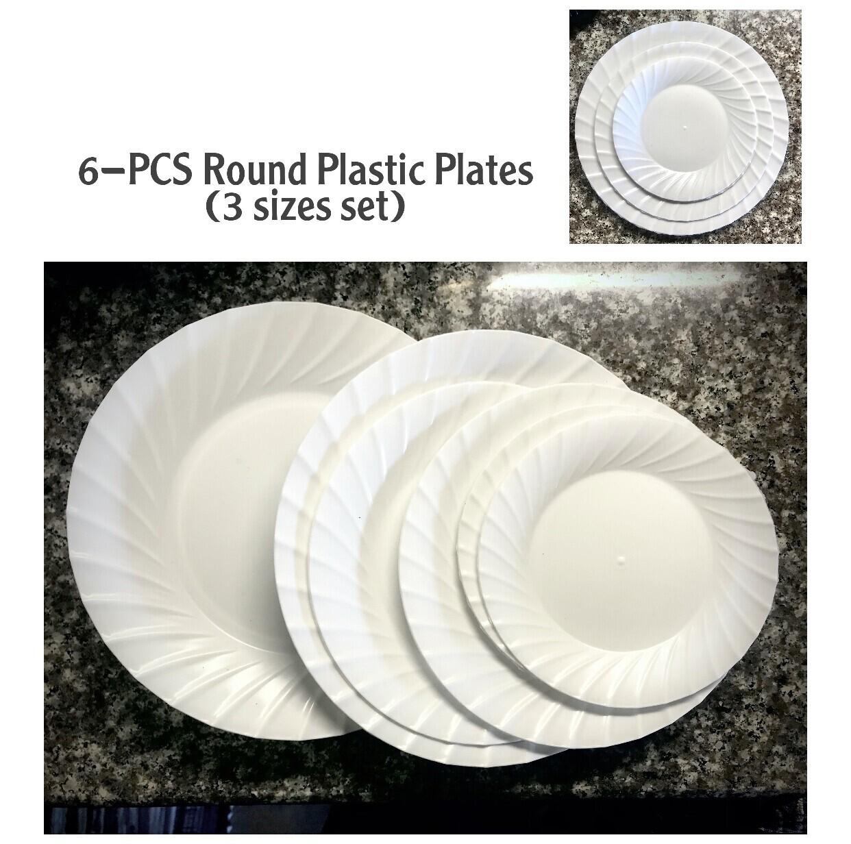 6-Pcs Round Plastic Plates