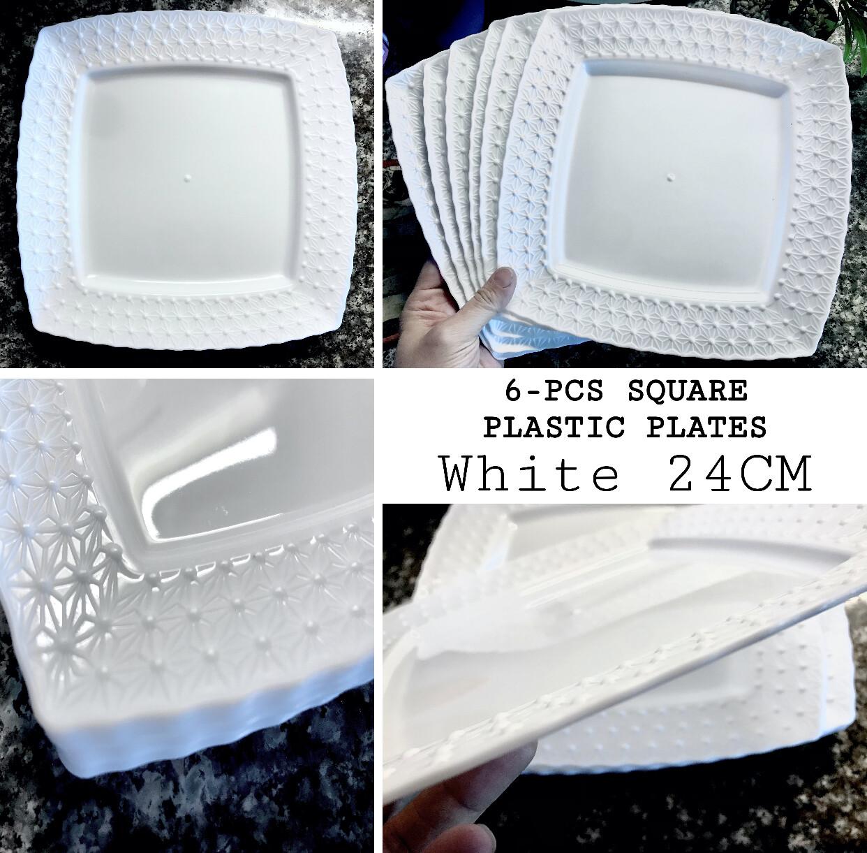 6-Pcs Plastic Plates 24cm