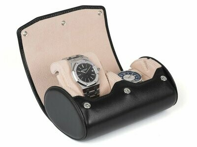 LEATHER WATCH STORAGE CASE FOR 2 WATCHES IN BLACK