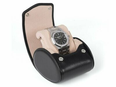 LEATHER WATCH STORAGE CASE FOR 1 WATCH IN BLACK