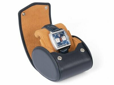 LEATHER WATCH STORAGE CASE FOR 1 WATCH IN NAVY BLUE