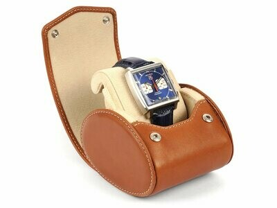 LEATHER WATCH STORAGE CASE FOR 1 WATCH IN COGNAC LIGHT BROWN