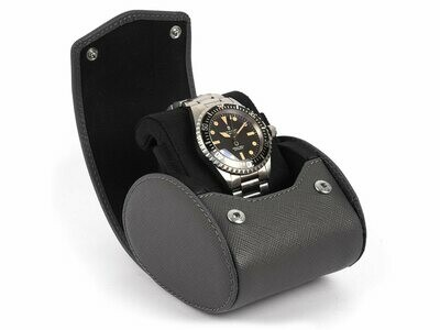 LEATHER WATCH STORAGE CASE FOR 1 WATCH IN GREY SAFFIANO