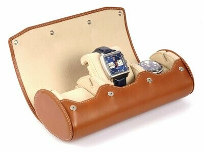 LEATHER WATCH STORAGE CASE FOR 3 WATCHES IN COGNAC LIGHT BROWN