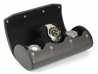 LEATHER WATCH STORAGE CASE FOR 3 WATCHES IN GREY SAFFIANO