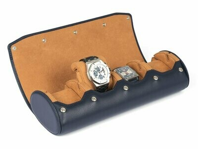 LEATHER WATCH STORAGE CASE FOR 4 WATCHES IN NAVY BLUE