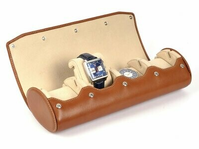 LEATHER WATCH STORAGE CASE FOR 4 WATCHES IN COGNAC LIGHT BROWN