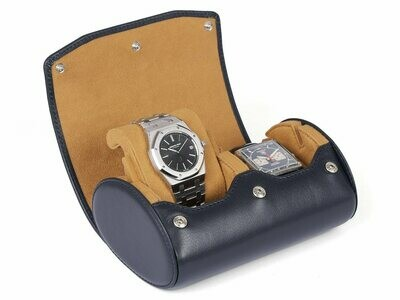 LEATHER WATCH STORAGE CASE FOR 2 WATCHES IN NAVY BLUE