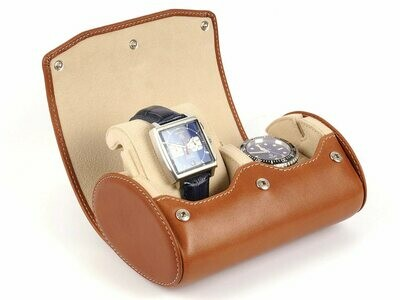 LEATHER WATCH STORAGE CASE FOR 2 WATCHES IN GOGNAC LIGHT BROWN
