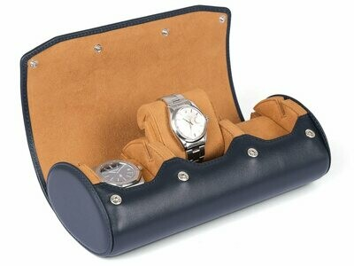 LEATHER WATCH STORAGE CASE FOR 3 WATCHES IN NAVY BLUE