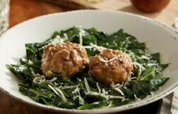 Parmesan Meatballs with Collard Greens