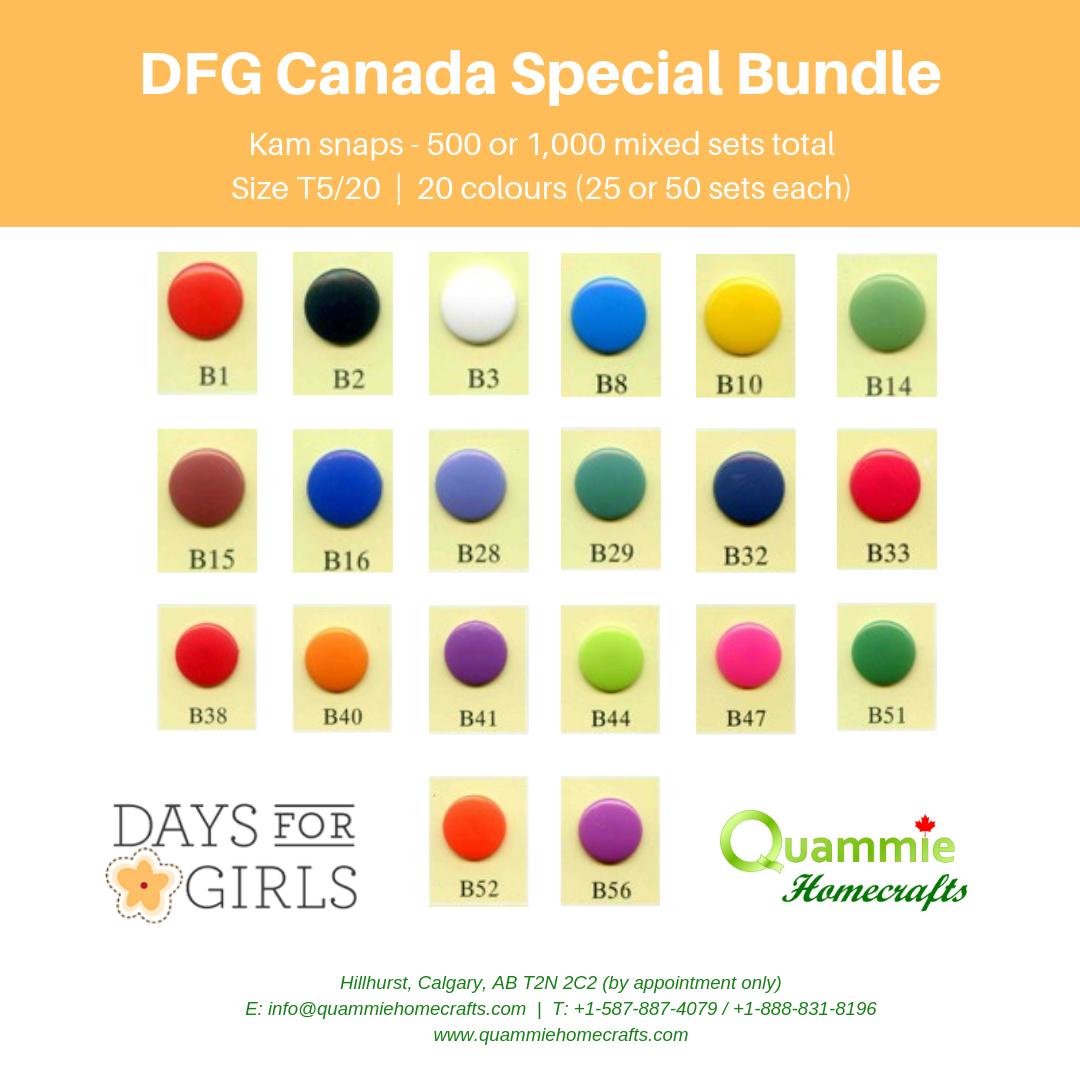 DFG Canada Special - Kam Snaps -Size T5 (Size 20) bundle - 500 & 1,000 sets, 20 colours