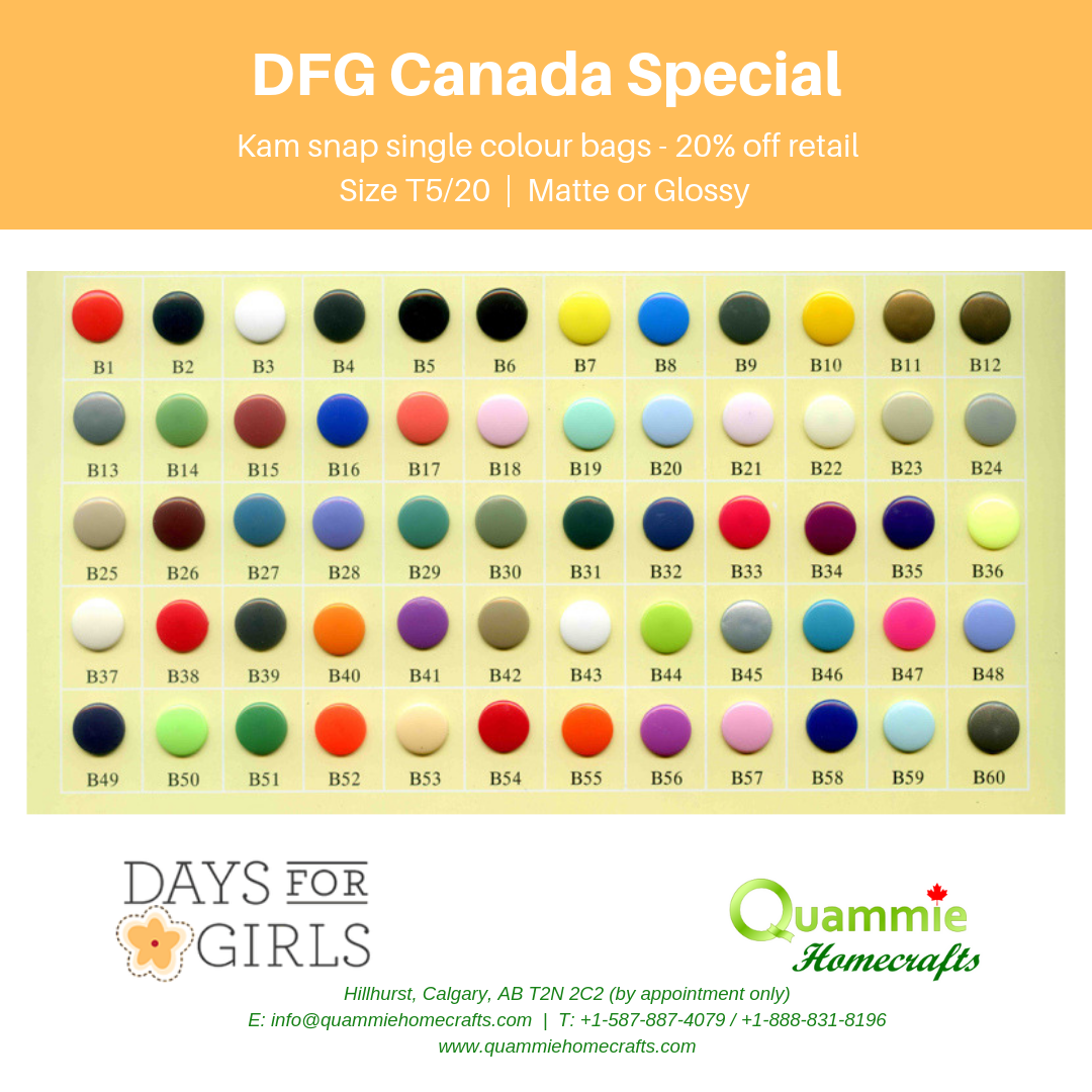 DFG Canada Special - Kam Snaps - Size T5 (Size 20) - Single Colour Bags
