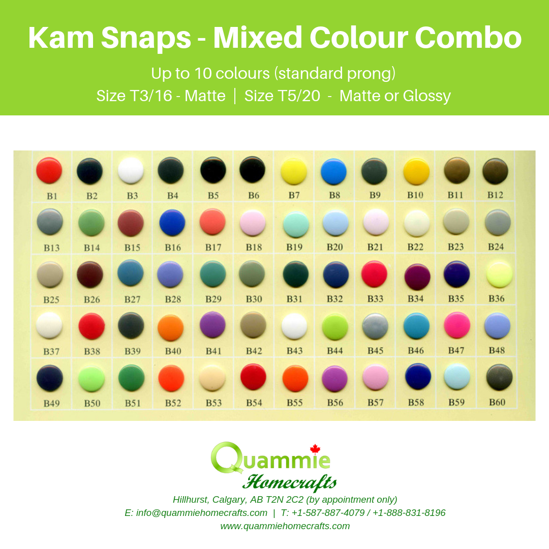 Kam Snaps - Mixed Colour Combo - up to 10 colours (standard prong)