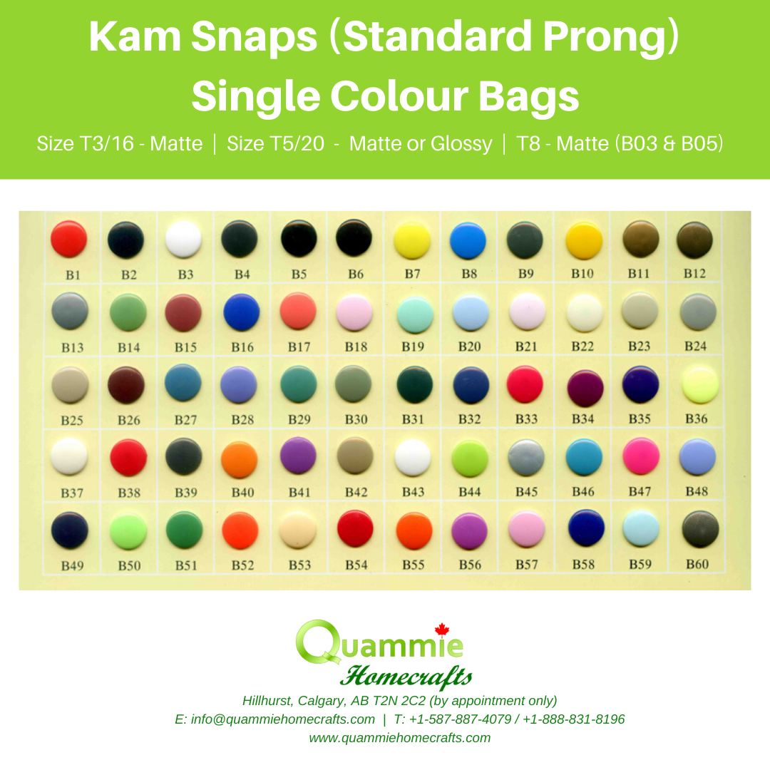 50 Kam Snaps - Single Colour (standard prong)