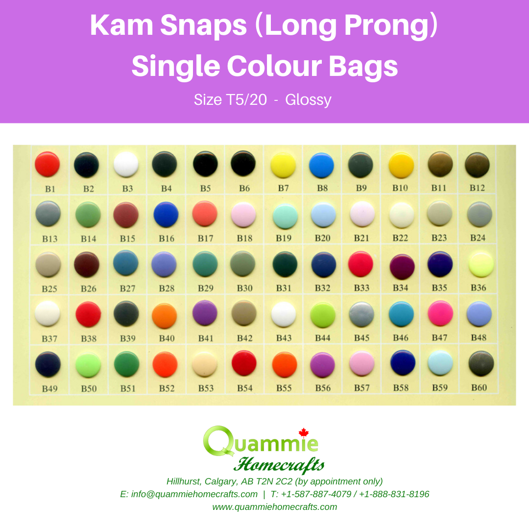 Kam Snaps - Glossy - Size T5 (Size 20) Long Prong - Single Colour