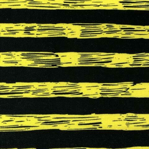 "French Terry - Yellow Black Sketchy Stripes - 27"" Remnant"