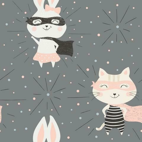 French Terry - Scandi Superhero Cat Bunny