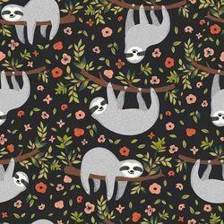 Cotton Lycra Jersey - Floral Sloths
