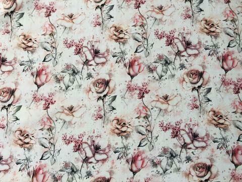 Cotton Lycra Jersey - Dusty Watercolour  Floral