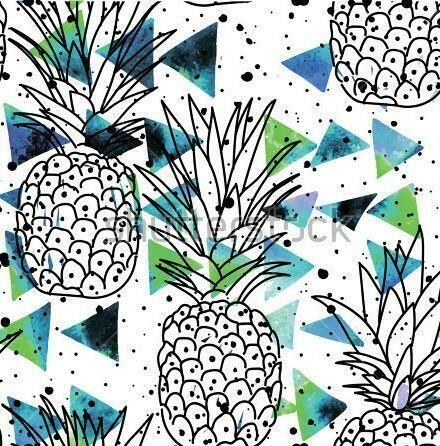 Cotton Lycra Jersey - Watercolour Pineapples