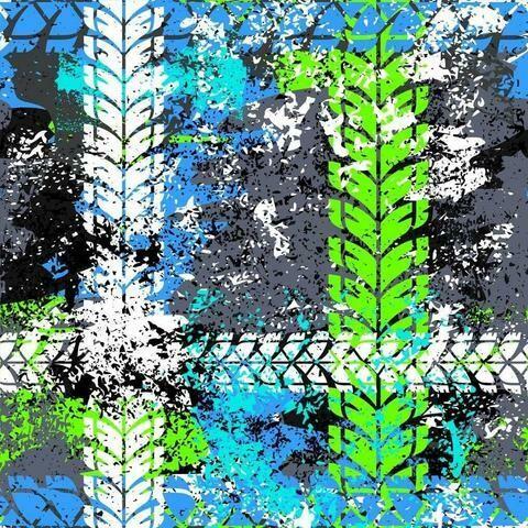 Cotton Lycra Jersey - Treads Blue Green