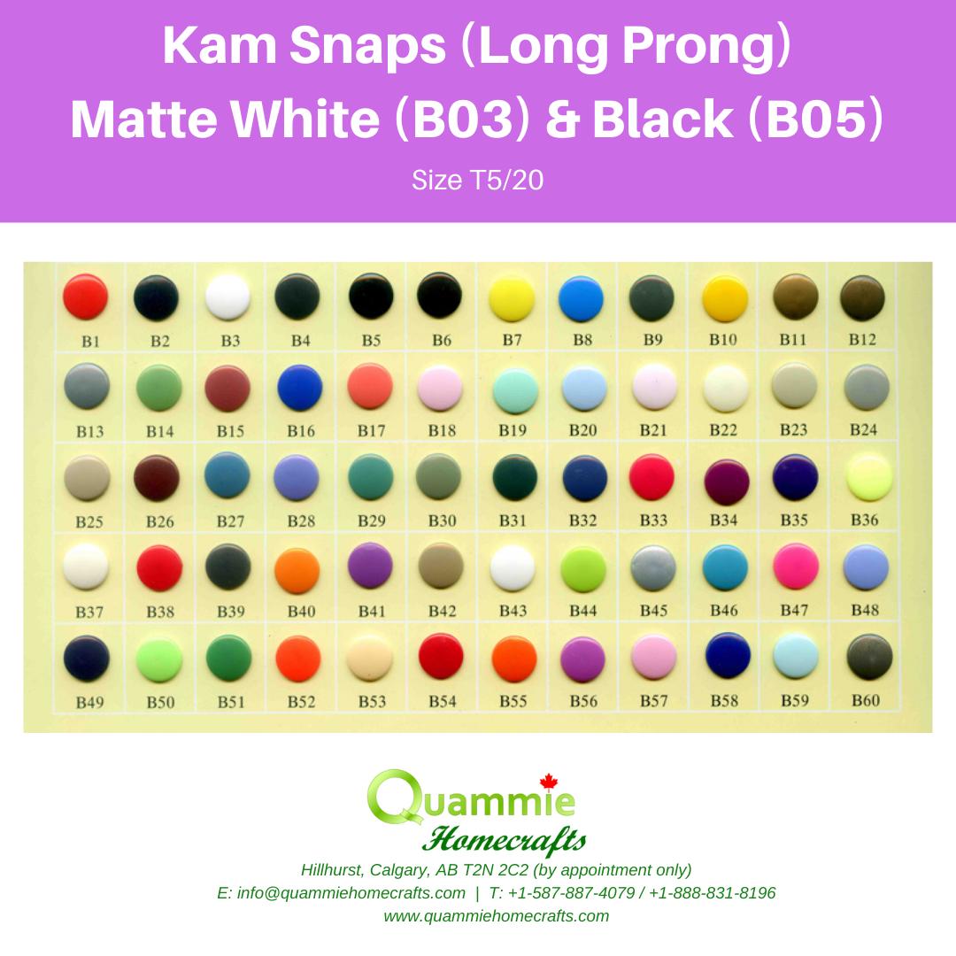 Kam Snaps - Matte - Size T5 (Size 20) Long Prong - B03 White & B05 Black