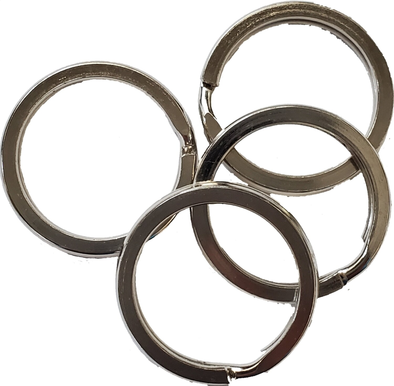 "Split Key Rings, Flat - Silver, 1"" - 4 pack"