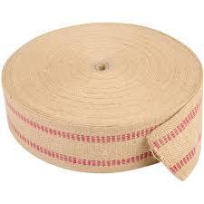 """Jute webbing, 3.5"""" - Red stripes (bulk roll)"""