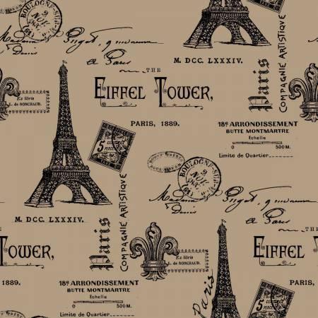 """Burlap, Printed - Eiffel Tower - per yard (47"""")"""