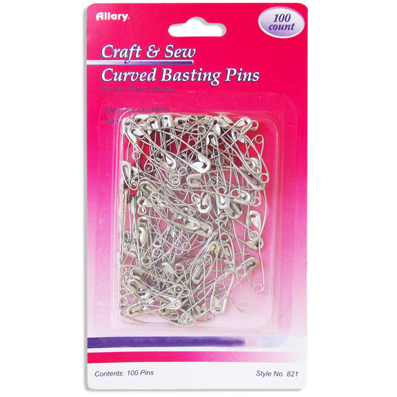 Curved Basting Pins - Assorted Sizes - 100 pk