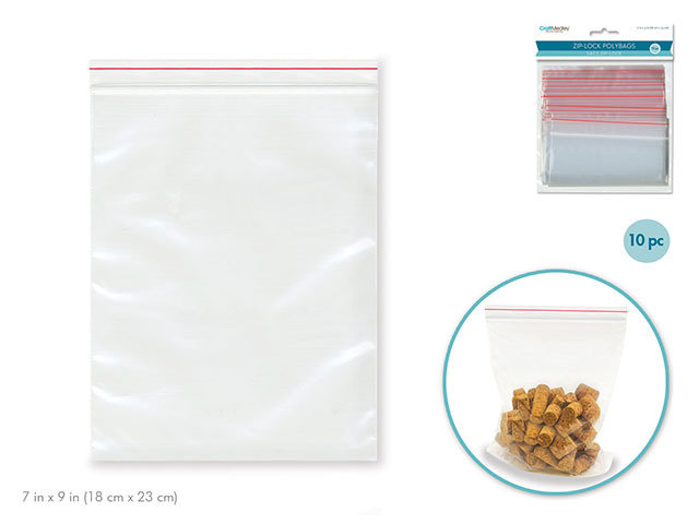 """7"""" x 9"""" Recloseable Polybags - 10pc"""