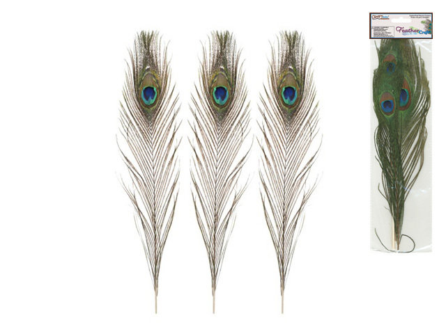 "Feather Craft: 10""-14"" Real Peacock Feathers - 2 pack"