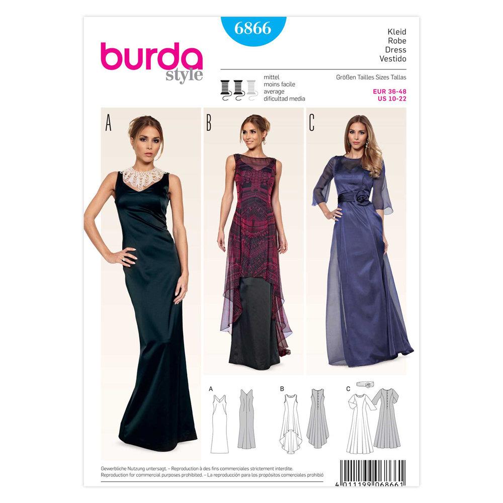 Ladies, Dress (Evening / Formal) - Burda 6866
