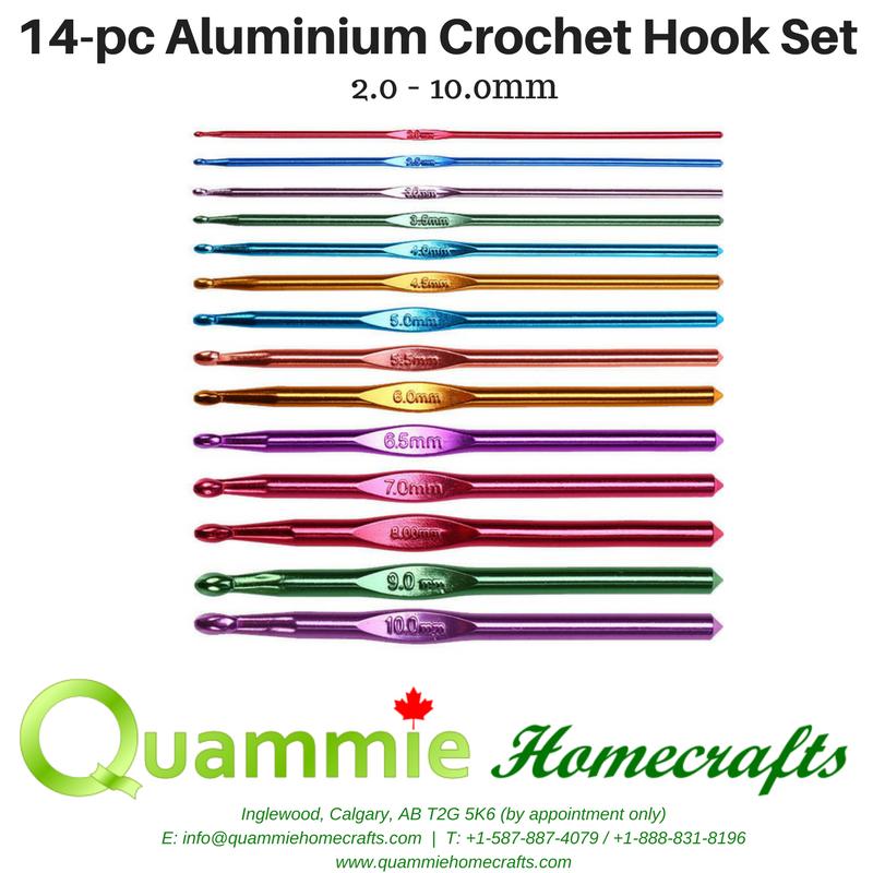 14-pc Aluminium Crochet Hook Set (2.0 - 10.0mm)