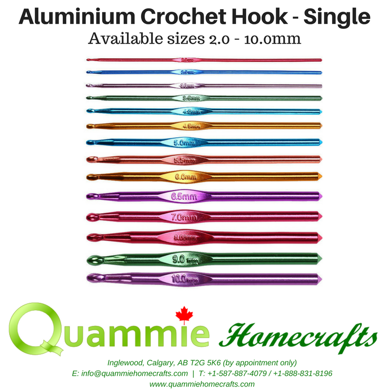 Aluminium Crochet Hook - Single (Sizes 2.0 - 10.0mm)
