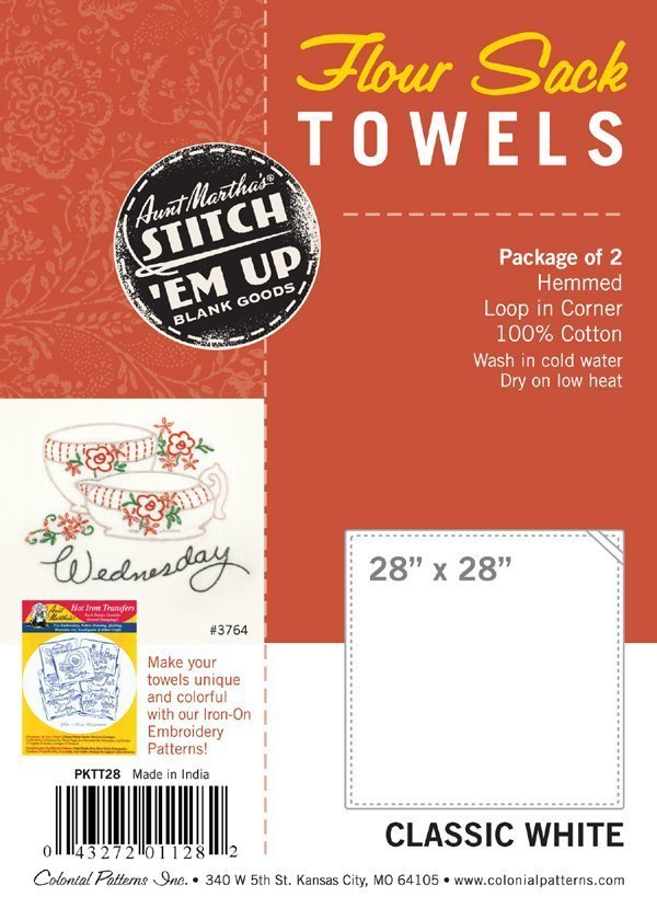 "Aunt Martha's Flour Sack Towels - 28"" x 28"" (2 pk) - Classic White"