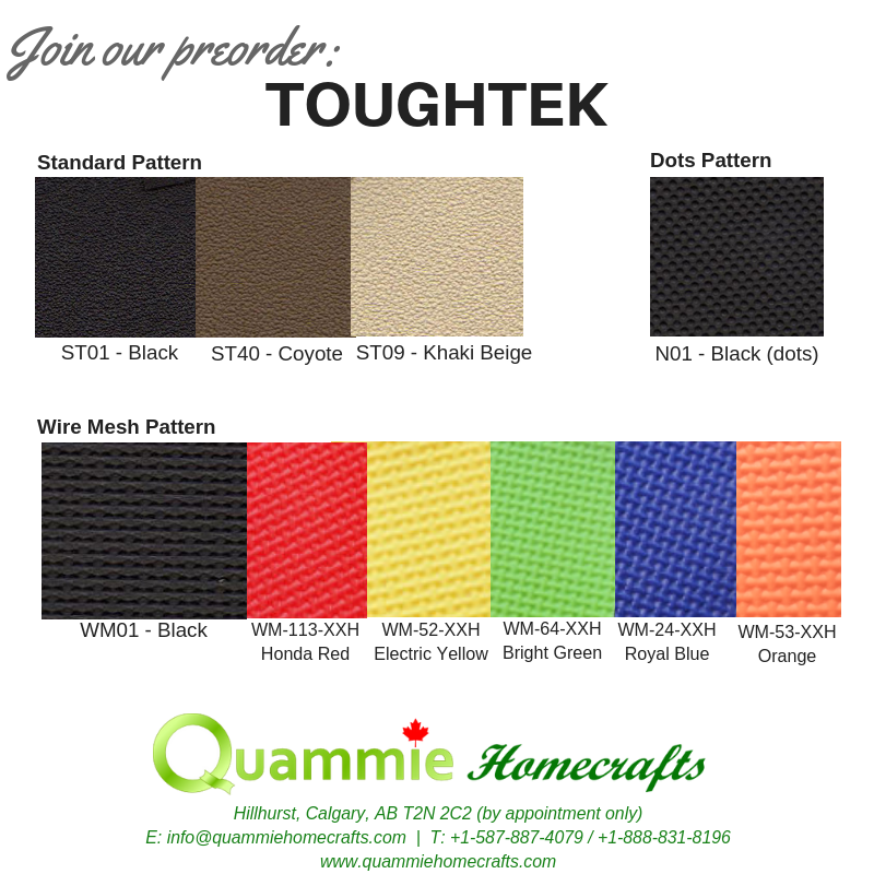 PREORDER: Toughtek Non Slip Fabric - Standard Options