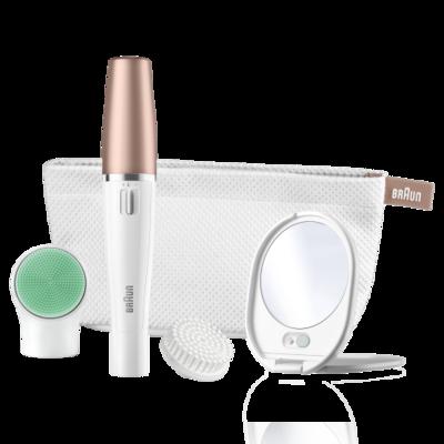 Braun SE851v FaceSpa näoepilaator ja puhastushari + masseerija, kotike + valgustusega peegel