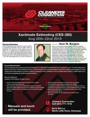 (SOLD OUT) Xactimate Estimating Class: Aug. 20th - 22nd 2019 | To find out more, call 800-391-4244 Mon-Fri 9am to 5pm.