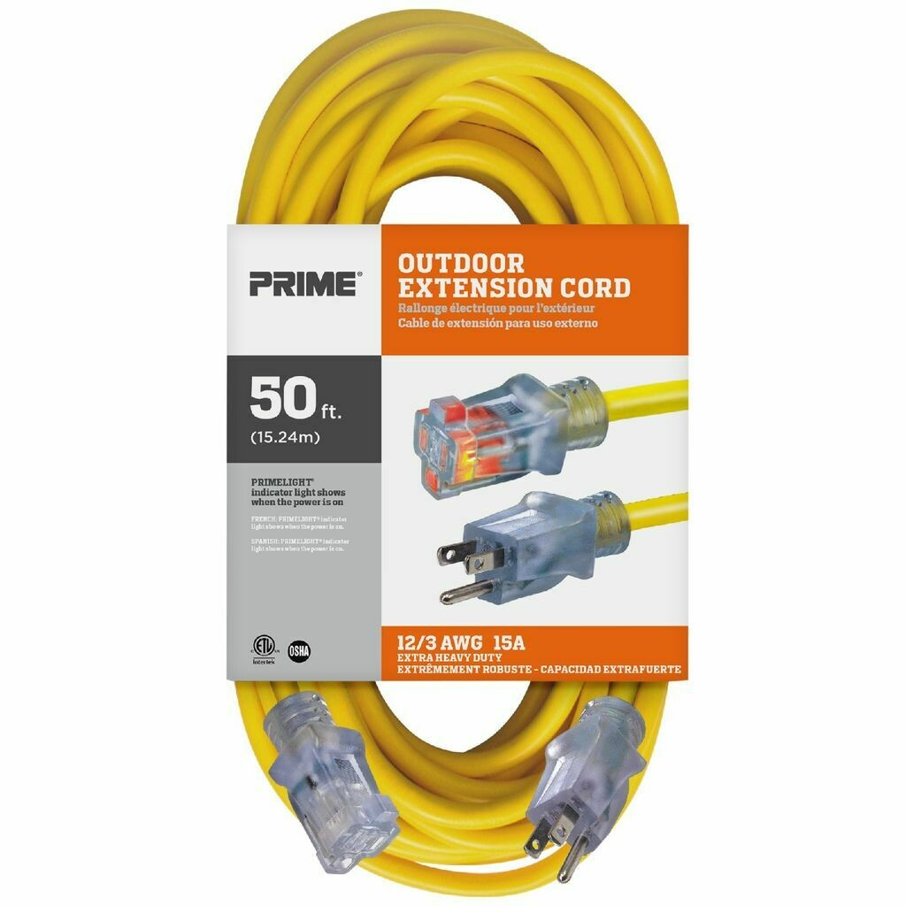 Outdoor Extension Cord 50ft 12/3 SJTW Yellow Jobsite®