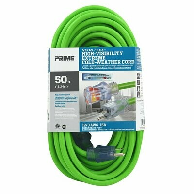 High Visibility Outdoor Extension Cord 50ft 12/3 SJTW -50°C Neon Flex®