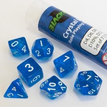 16mm Role Playing Dice Set - Crystal Blue (7 Dice) - Rollenspielwürfel