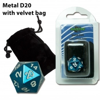 D20 Metal with velvet bag - Blue Random - Metallwürfel