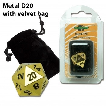 D20 Metal with velvet bag - Gold Random - Metallwürfel
