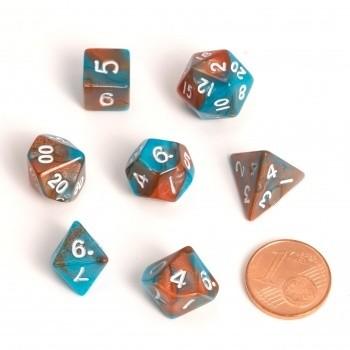 Fairy Dice RPG Set - BiColor Orange Blue (7 Dice) - Rollenspielwürfel