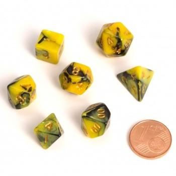 Fairy Dice RPG Set - BiColor Yellow Black (7 Dice) - Rollenspielwürfel