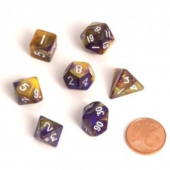 Fairy Dice RPG Set - BiColor Yellow Purple (7 Dice) - Rollenspielwürfel